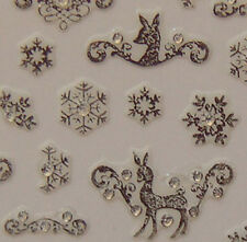 Nail Art 3D Sticker Silvertone Crystal Deer and snowflake 89+2 pcs Christmas