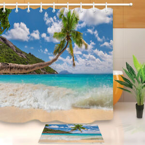 Palm Tree Fabric Shower Curtain Beach Scenery Bathroom ...