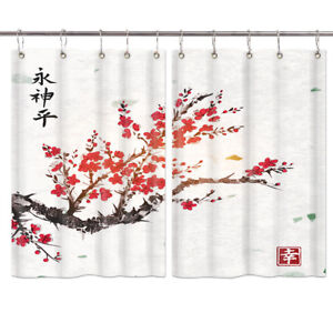Japan Cherry Blossom Oil Painting Window Drapes Short Kitchen Curtains 2 Panels Ebay