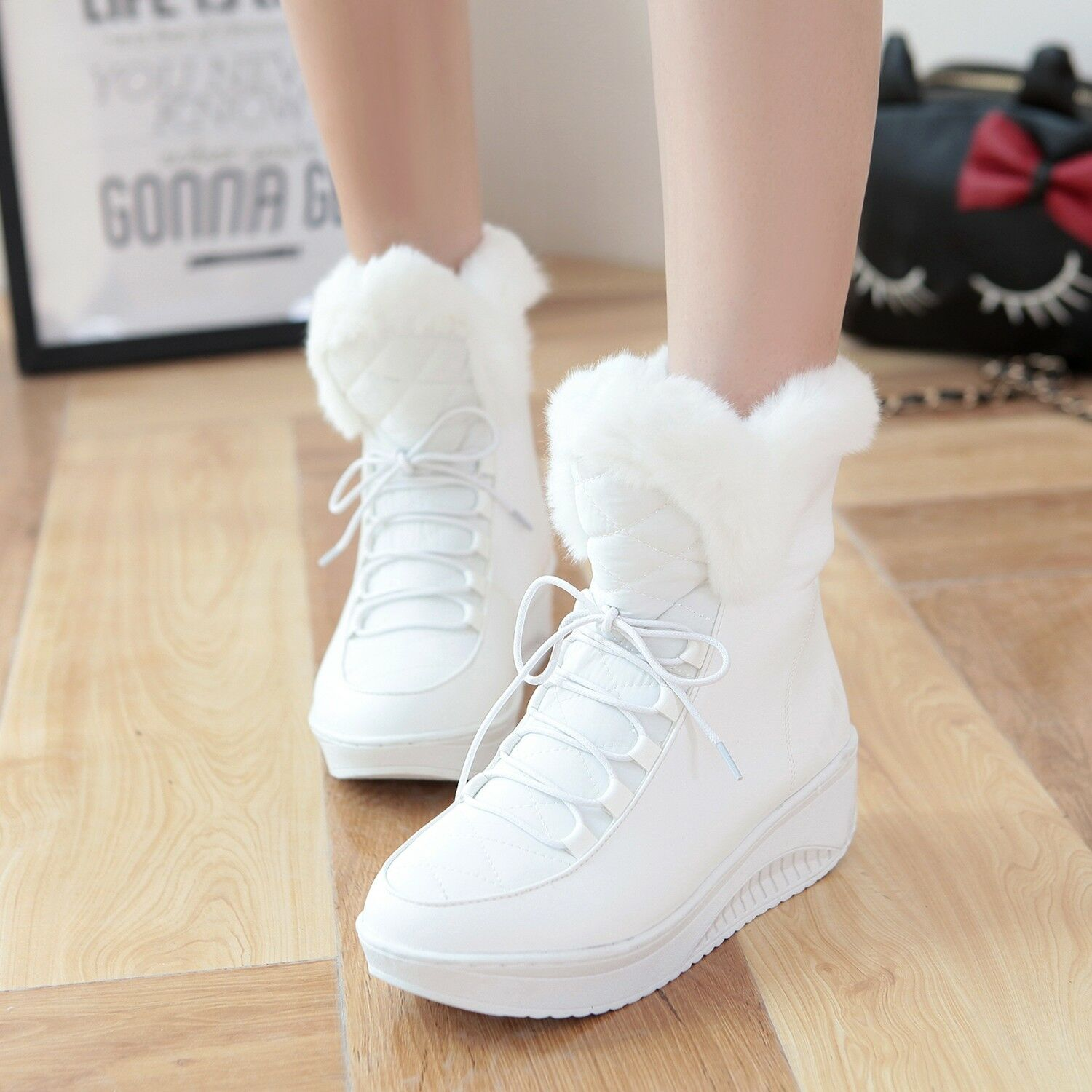 Winter College Womens Short Snow Boots Fur Lined Warm Lace Up Platform Shoes Hot
