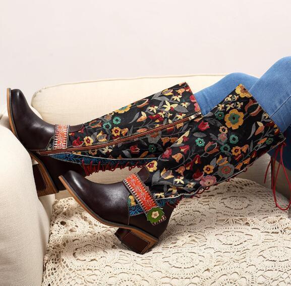 Cuero para Mujer Vintage Floral Rodilla Alto Punta rojoonda rojoonda rojoonda ética de Zapatos botas de montar G627  suministro directo de los fabricantes