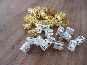 100 Gold Silver Mixed Dreadlock Bead Adjustable Hair Braid Cuff Clip 8mm Hole