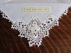 1 X Blanc Vintage Irish Linen Hand Crochet Shamrock Dentelle Mouchoir Mariée Chance-afficher Le Titre D'origine