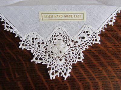 Accurato 1 X Vintage Bianco Lino Irlandese A Mano Pizzo All'uncinetto Shamrock Fazzoletto Sposa Fortuna-mostra Il Titolo Originale