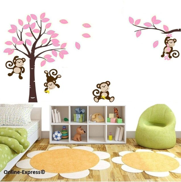 monkey tree jungle nursery wall art stickers decals pink girl