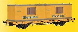 HS-Kibri-26268-Niederbordwagen-mit-2-Containern-GleisBau-Fertigmodell-HO