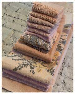 16pc-Lot-Vintage-Bath-Pink-Peach-Dundee-Swan-Floral-Towels-Fringe-Bibb-Mat