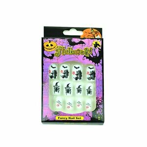 12-Halloween-Fake-Nails-Art-Decals-Set-Fancy-Dress-Costume-Party-Fun-Accessories