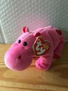 """Ty NEW Beanie Baby Babies HUGAMUS the HIPPO 6.5"""" (Ty Store Exclusive) MWMT"""