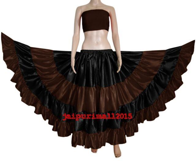 Mix Color Satin ATS Gypsy 6-12-25 Yard Skirts 5 Tier Tribal Belly Dance Flamenco