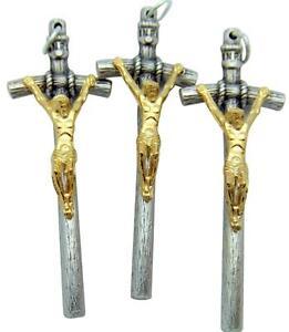 Mrt 3 lot gold silver plate crucifix pendant pope john paul papal image is loading mrt 3 lot gold silver plate crucifix pendant mozeypictures Gallery