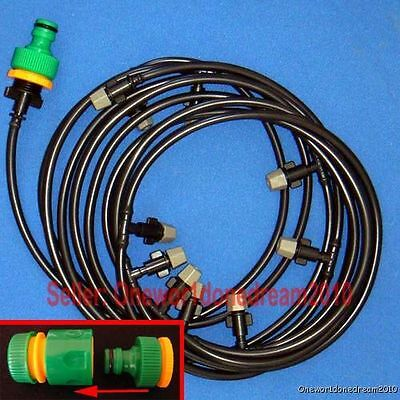 10M/33' Outdoor Garden Misting Cooling Irrigating System 10 Plastic Mist Nozzles