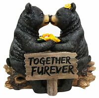 7 Tall Romantic Black Bear Couple In Courtship By Wooden Log Decorative