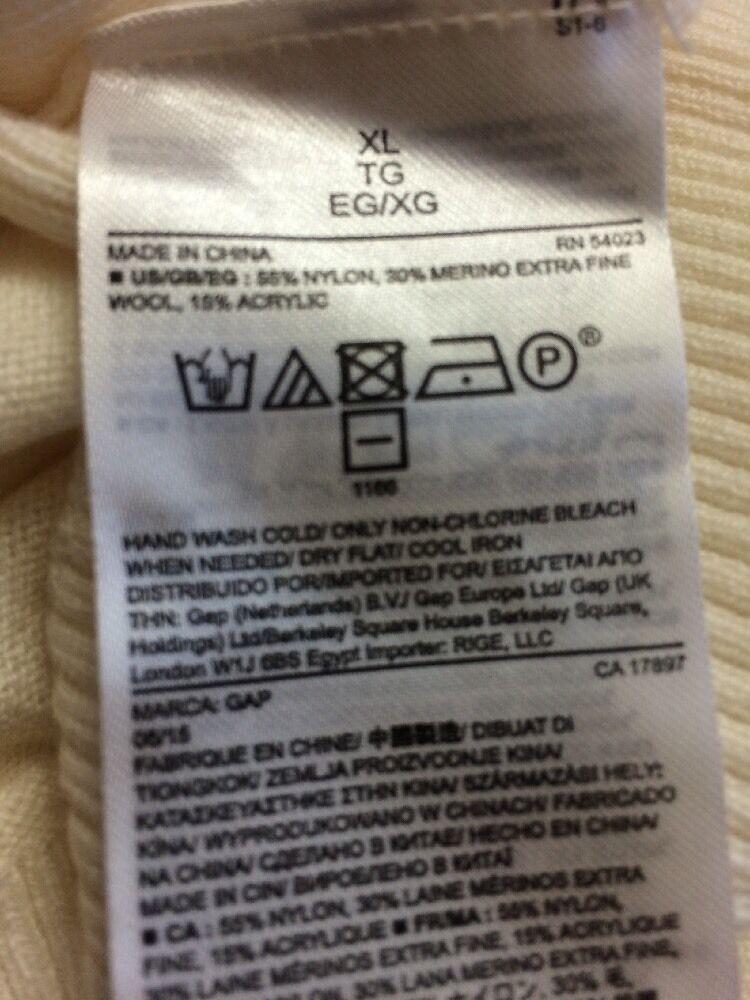 Gap XL Merino Merino Merino Wool White Blend NWT Long Sleeve Ivory Sweater GREAT GIFT 122096