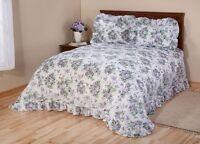 Q/k Victorian Lavender Rose Ribbon Plisse Floral Ruffled Unfilled Bedspread Set