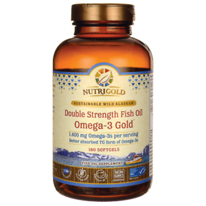 NutriGold Double Strength Fish Oil Omega-3 Gold 1,400 mg 180 Sgels.