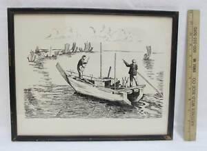 Asian-Boat-Ink-Drawing-Print-Framed-Signed-MN-Jan-Oriental-Seascape-Vintage