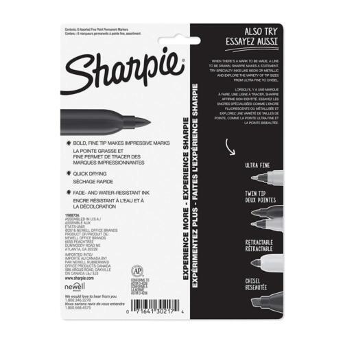 Fine Point Black Pack of 5 Sharpie Permanent Marker