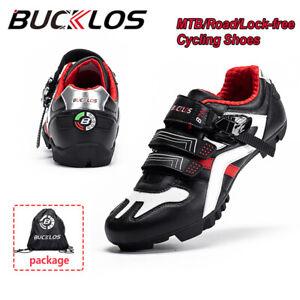 BUCKLOS-Men-039-s-MTB-Road-Bike-Shoes-Gym-Sneakers-Lock-Racing-for-Shimano-SPD-Look