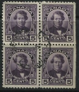 Canada-KGV-1927-5-cents-McGee-used-block-of-4