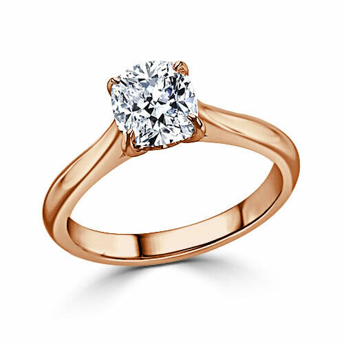 1.00 Ct Cushion Diamond Engagement Ring 14K Solid pink gold Rings Size 6 +002