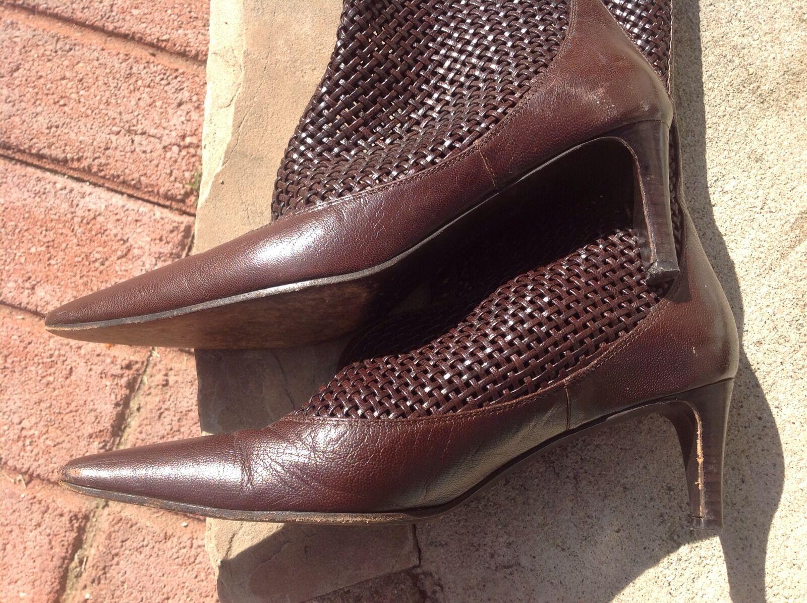 BOTTEGA VENETA Knee High Boots Boots Boots Brown Weaved Leather Sz 36.5 US 6.5 Pre Owned 8ebd3e
