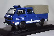 "VW T3 DOKA Pritsche ""THW"" blau 1:43  Minichamps neu & OVP 400055290"