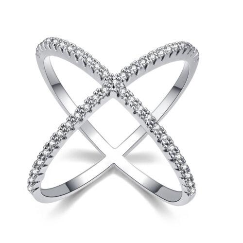 Clair cristaux pavé X Shape Cross Channel Party Finger Ring Fashion Accessories