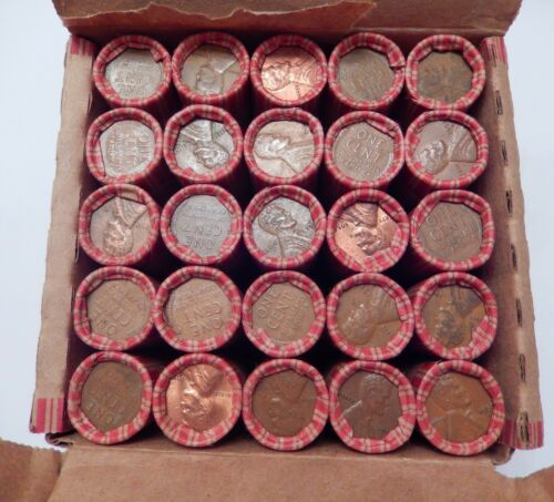 SEALED $12.50 Lincoln Wheat 25 Roll Box 1909-1958 P D S Cent Penny Pennies Lot