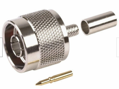 QMA Plug with Male Center Pin in RF Connector for 195 RG58 RG400 Coaxial Cable Ships from USA