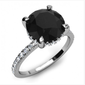 3.00 CT Round Cut Black Diamond 14k White Gold Finish Solitaire Engagement Ring
