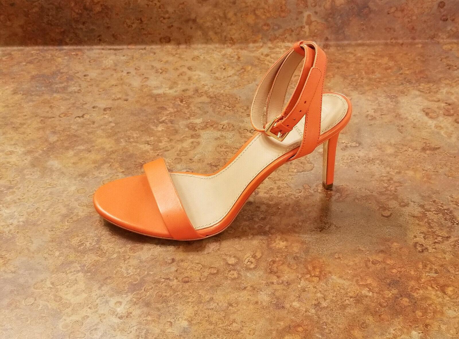 New  Tory Burch 'Elana' Ankle Strap Sandals orange Leather Women 7.5 M MSRP  295