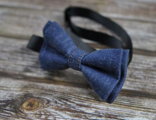 Boy Kids Baby infant Navy Blue Denim Jeans Bow Tie Bowtie Wedding 1-6 Years Old