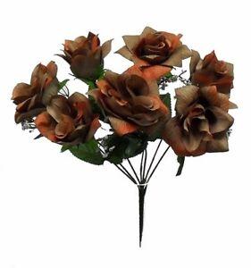 7 TAN BROWN Open Roses Soft Touch Silk Wedding Bouquet Flowers Centerpieces