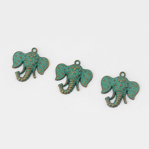 10x Verdigris Patina Elephant Head Charms Pendants Jewelry Findings 38*38mm