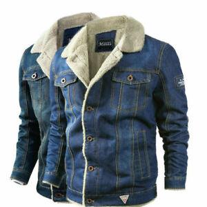 Mens Fleece Lined Winter Warm Coat Trucker Denim//Jean Fur Collar Jacket Overcoat
