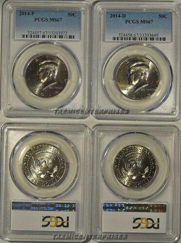 2014 P /& D Kennedy Half Dollar 2 Coin Set 50c PCGS MS67