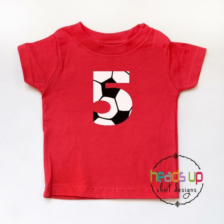 5th Birthday Shirt Boy or Girl Soccer Kids Five Bday tshirt Sports 5 Tee Trendy