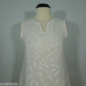a77d211ad0 JORDAN TAYLOR BEACH Women's White Eyelet Cover-Up Tunic Top size L ...