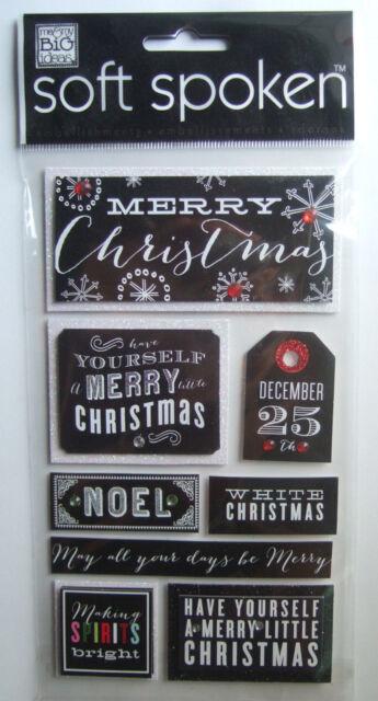 ~MERRY CHRISTMAS~ Soft Spoken Dimensional Embellishment Stickers; Black & White