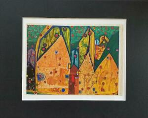 Friedensreich-Hundertwasser-034-Houses-In-Rain-Of-Blood-034-Matted-Offset-Litho-1986