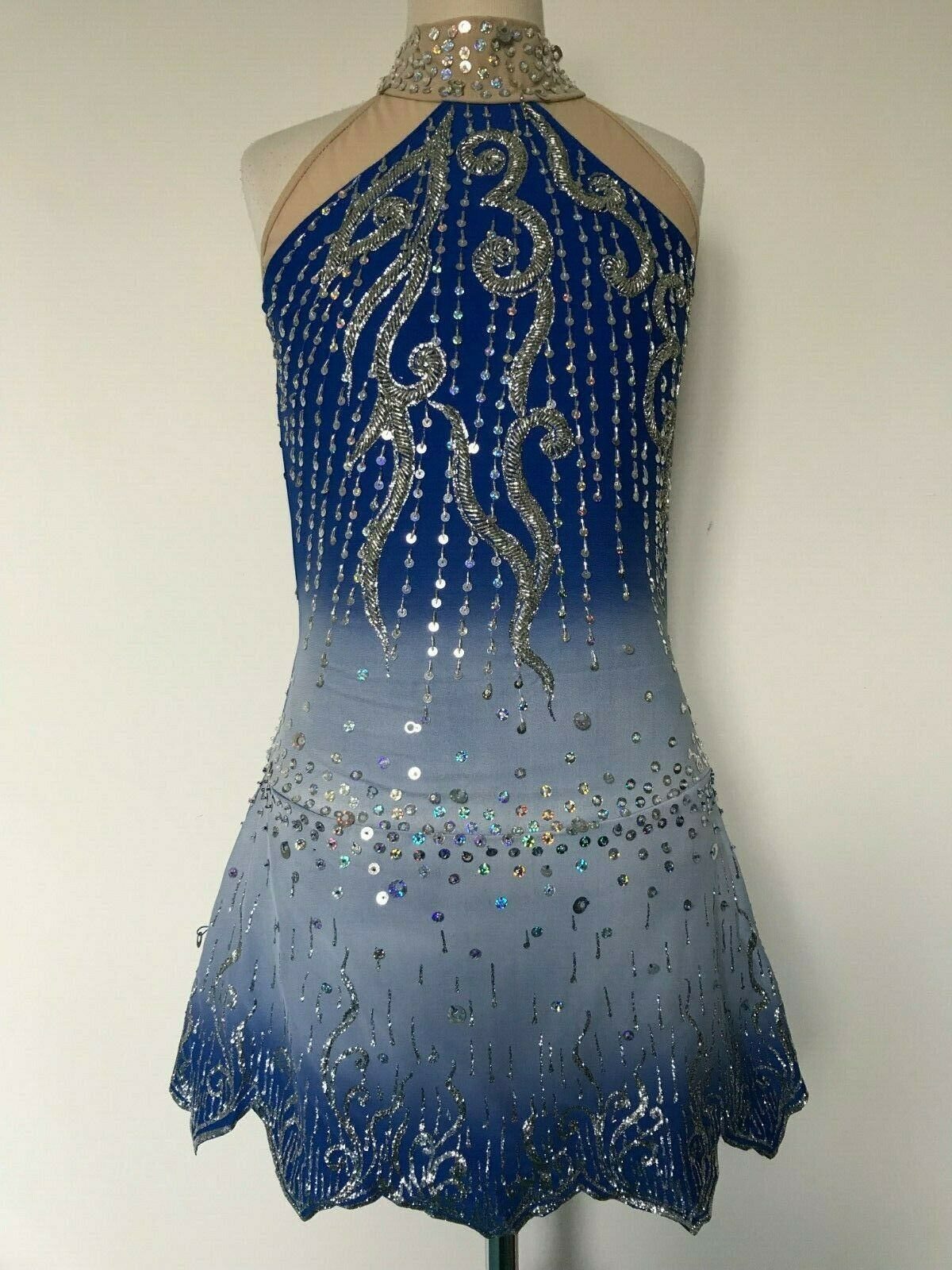 SALE   NEW blueE FIGURE ICE SKATING BATON TWIRLING DRESS COSTUME GIRL XL  not to be missed!