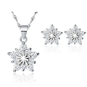 925-Sterling-Silver-Snowflake-Pendant-Necklace-Stud-Earrings-Womens-Jewellery-UK