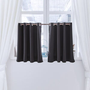 Details about Tier Curtains Semi Sheer Black Short Curtains Kitchen Casual  Weave Cafe Curtain