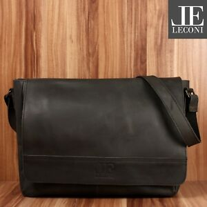Büffelleder Schwarz A4 Le3064 Leconi Din Collegetasche Used Bag Look Messenger wqvxC