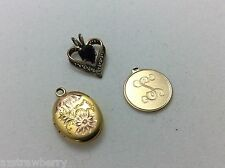 VTG Lot of 3 12k GF locket  charm pendant Vintage