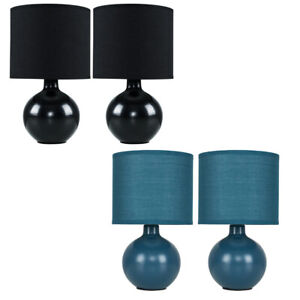 2x Ceramic Table Lamps Cotton Drum Lampshades Living Room / Bedroom Lighting