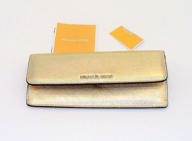 23c62d6ca0d4 NWT Michael Kors Money Pieces Handbag Wallet Clutch Gold Womens Leather  Purse