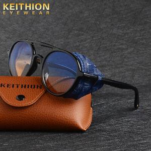 KEITHION-Mens-Polarized-Steampunk-Sunglasses-Fashion-Round-Vintage-Retro-Eyewear