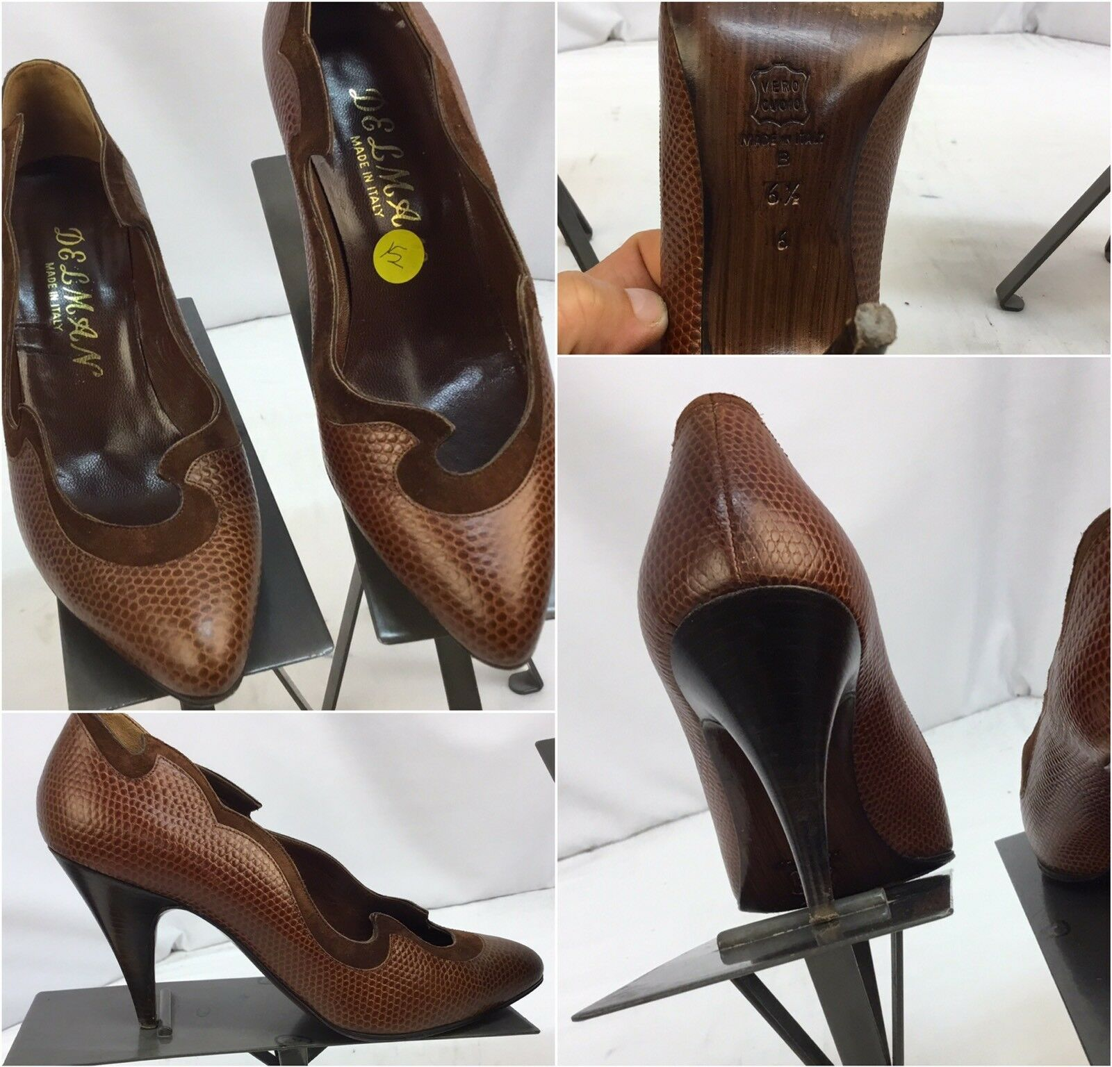 Delman Heels Shoes Sz 6.5 Brown Leather Made In Italy Worn 2 Times YGI G7